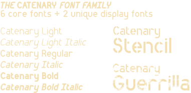The Catenary font family: six core fonts plus two unique display fonts